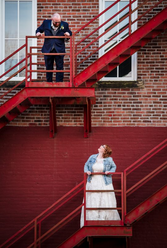 Bride and Groom City Portraits On Stairs