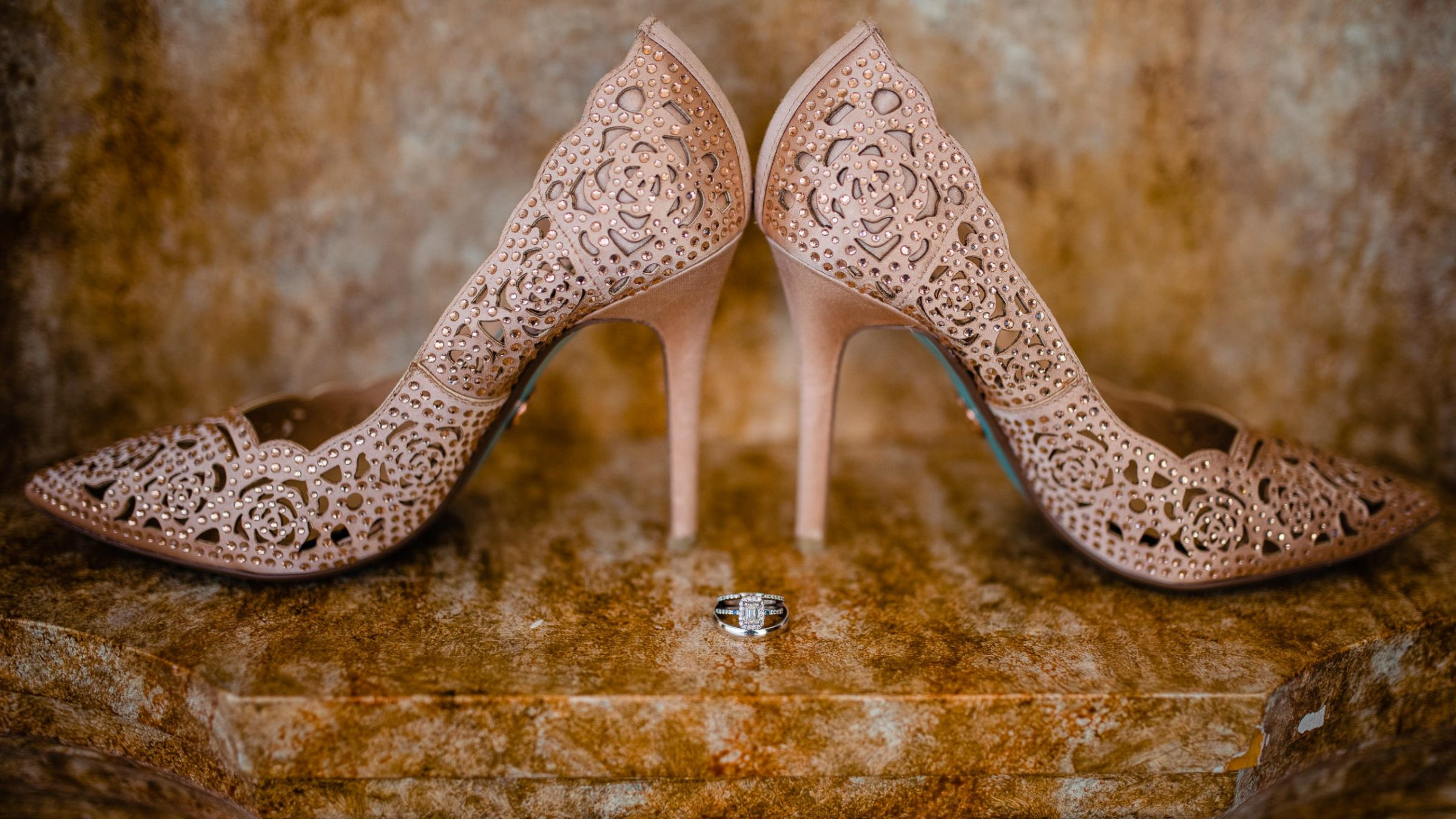 brides heels with gemstones