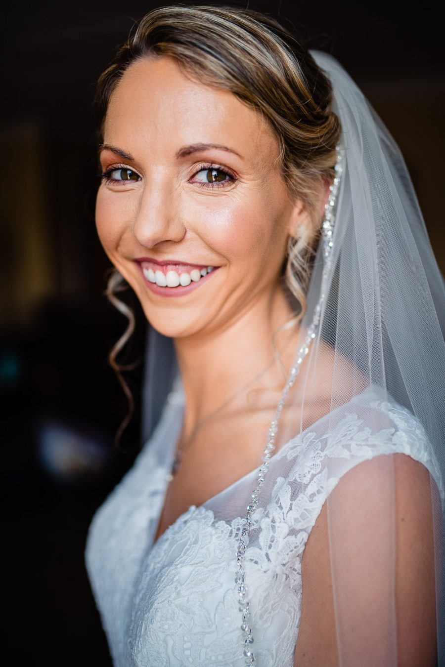smiling bride on wedding day