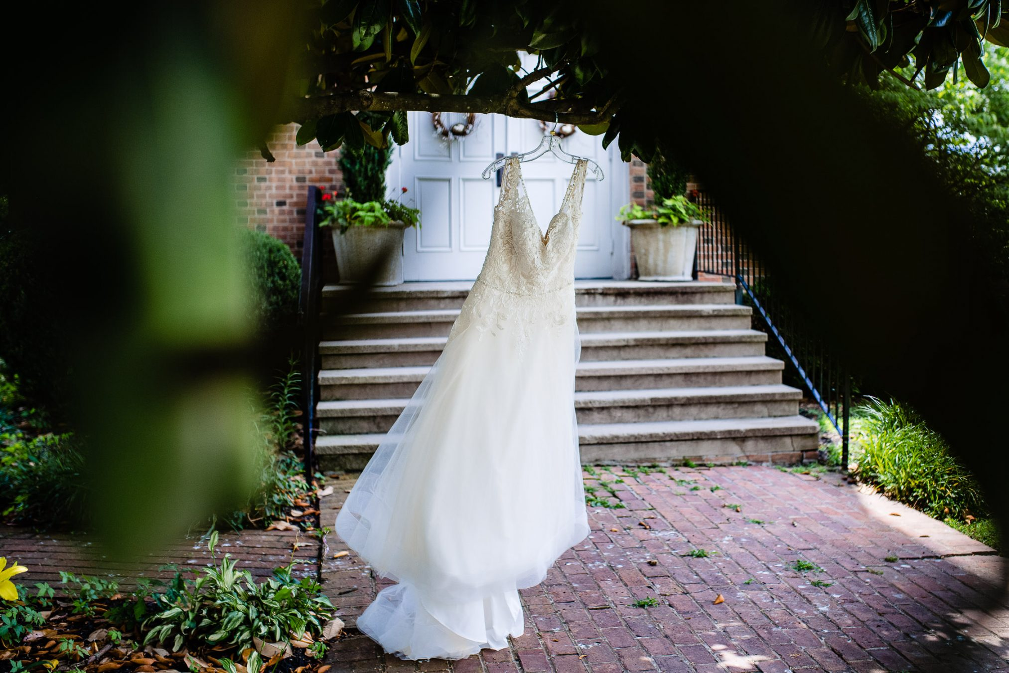 wedding dress in front of church
