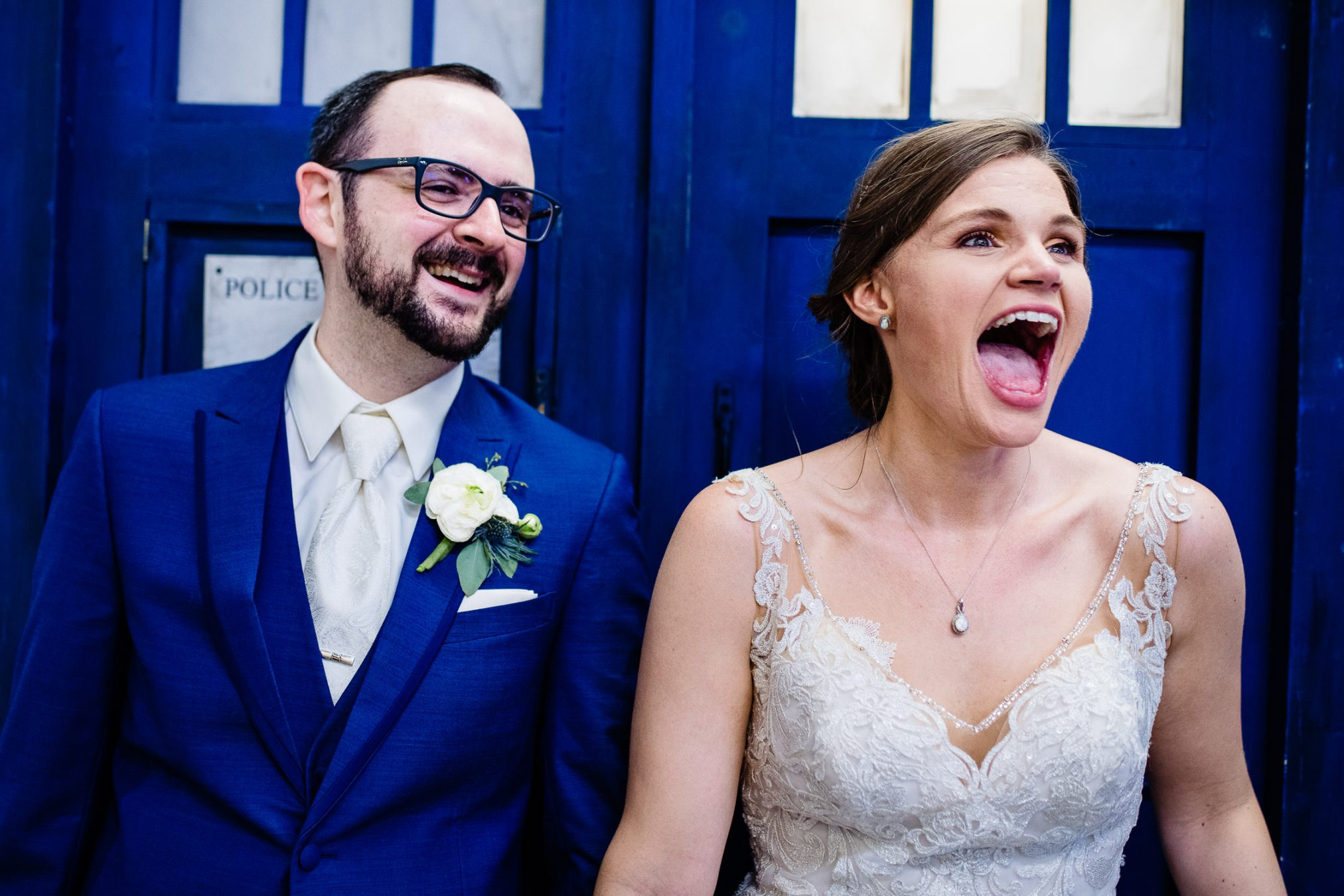 bride and groom and Dr. Who Tardis