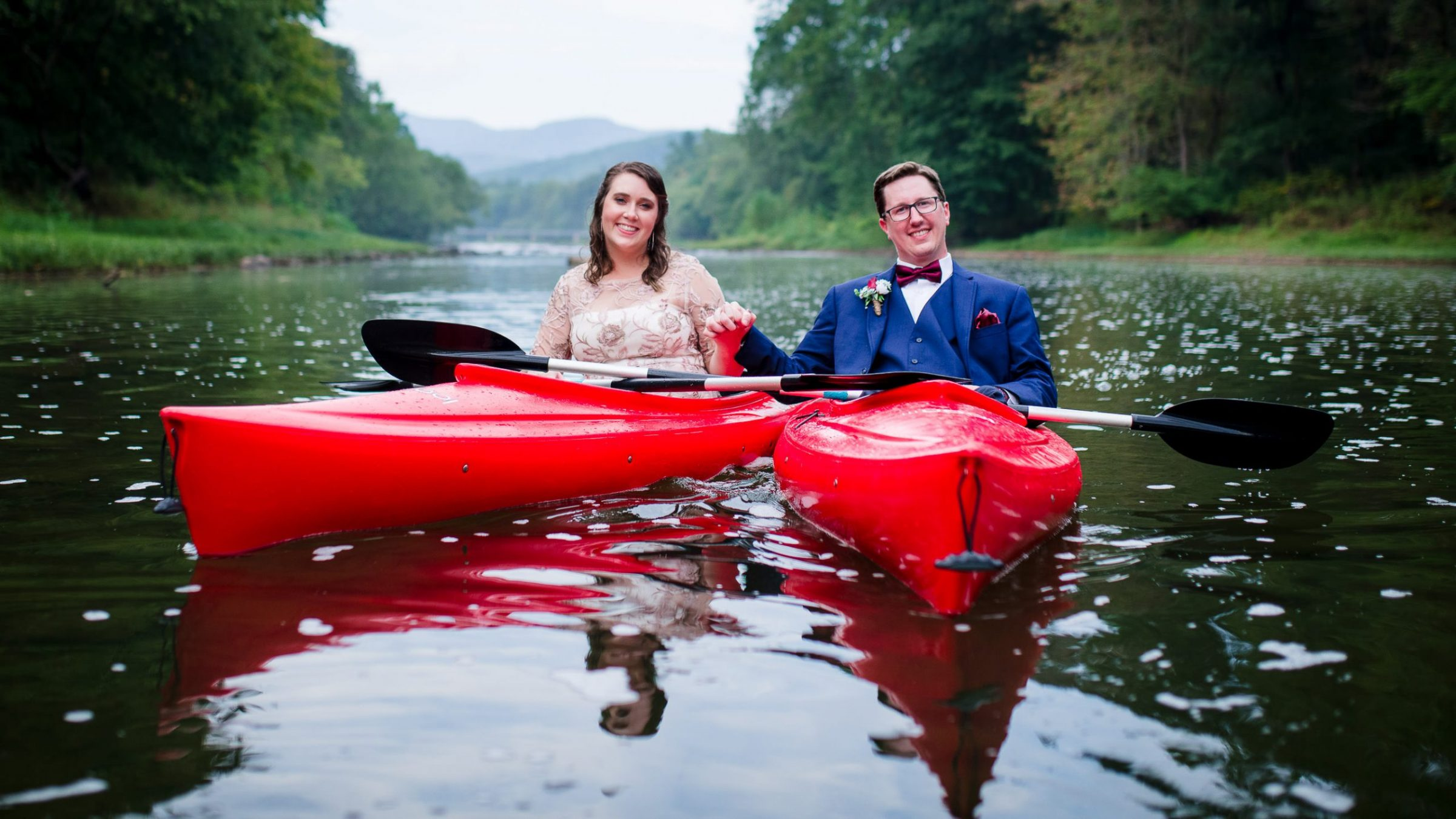 outdoor adventure kayak wedding