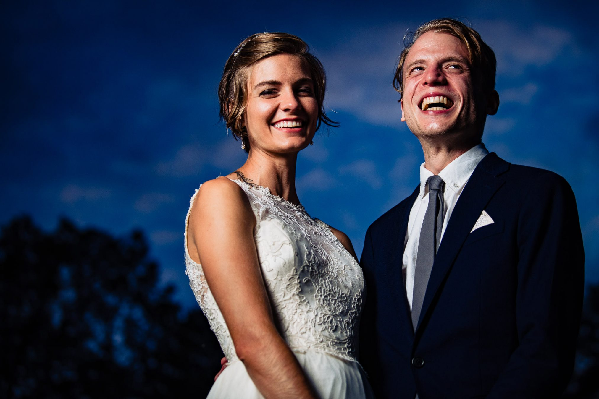 bride and groom portrait at blue hour